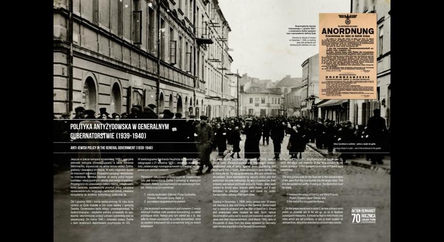 """Powiększ obraz: Plansza wystawy """"Przybyli do getta... Odeszli w nieznane..."""""""
