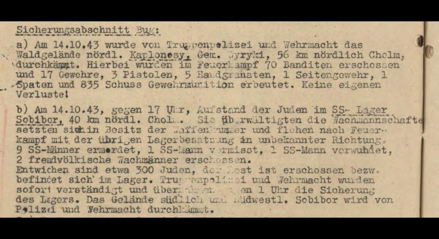Powiększ obraz: 1. Fragment meldunku Komendantury Policji Porządkowej w dystrykcie lubelskim z 15.10.1943 r. do Dowódcy Policji Porządkowej w Krakowie
