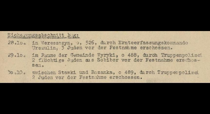 Powiększ obraz: 7. Fragment meldunku Komendantury Policji Porządkowej w dystrykcie lubelskim z 31.10.1943 r. do Dowódcy Policji Porządkowej w Krakowie